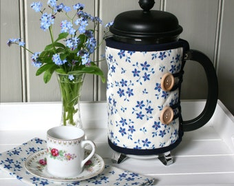 Linen Union Blue Ditsy Floral Patterned Cafetiere Cosy