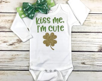 Kiss Me, I'm Cute Baby Girl St Patricks Day Bodysuit Outfit