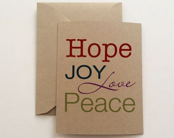 Hope Joy Love Peace Typography Christmas Card