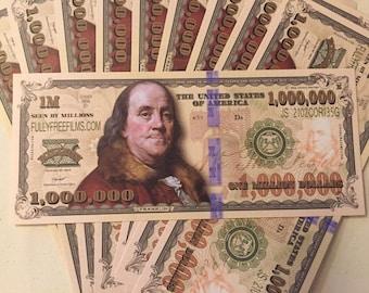 Set of Ten - Million Dollar Bills- Joke Money - 2.50 a set - Not intended for tender
