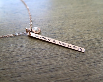Rose Gold Necklace, Pave Diamond, Graduation Gift, Inspirational Jewelry, She Believed She Could So She Did Necklace, Motivational Necklace