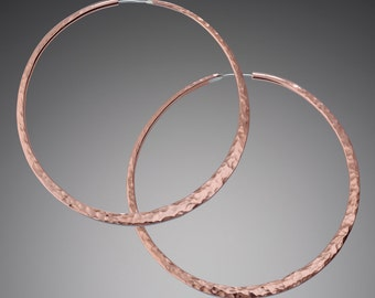 Statement Earrings // Giant 3 inch Hammered Copper Hoops Earrings // Gypsy Hoop Earrings // Large Copper Hoop Earrings // Copper Jewelry