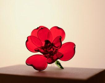 Large Hand Blown Glass Long Stemmed Rose