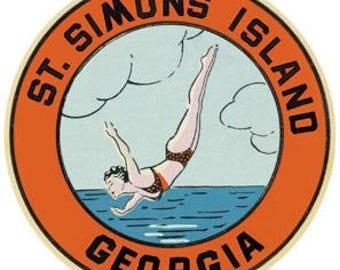 Vintage Style St. Simons Island GA Georgia Saint  1950's    Travel Decal sticker