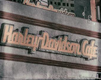 Las Vegas,Hotel Sign,Harley Davidson,Vintage,Colorful,Wall Art,Home Decor,Travel Art