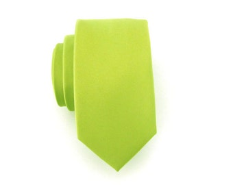 Mens Ties Lime Green Mens Skinny Necktie With *FREE* Matching Pocket Square Set