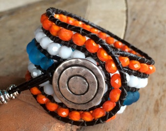 Beaded Cuff Wrap Bracelet, blue frosted, white and orange faceted beads with choice of charm drop.