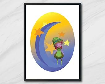 Little Witch ART PRINT illustration, Wall Art, Home Decor, Nursery, Gift