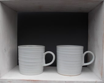 2x Coffee Mugs in Palest Bluey White