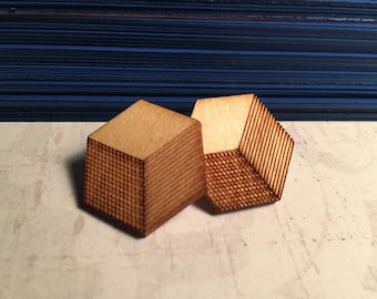 Large Cubes - Wooden Laser Cut Earrings