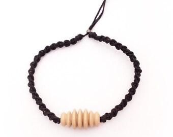 Macrame wood piece bracelet