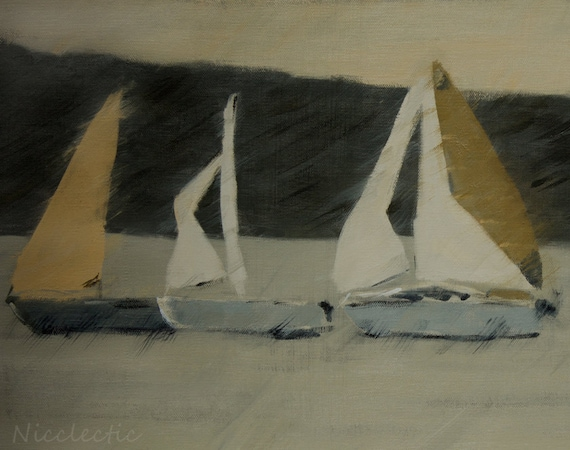 Sail boats, sailing, nautical art, Regatta, gray and yellow, boat decor, sea life, father's day, mens gifts, gifts for dad, nautical, sails
