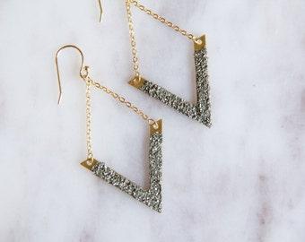 Pyrite Triangle Earrings