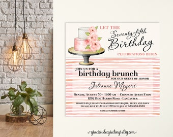 Woman's Birthday Party Invitation, 75th Birthday Celebration Invite, Adult Birthday Invitation, 50th, 65th, 70th, 80th, 90th, Square Card