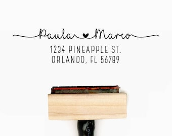 Custom Personalized Return Address Pre-Designed Rubber Stamp - Branding, Packaging, Invitations, Party, Wedding Favors - A009
