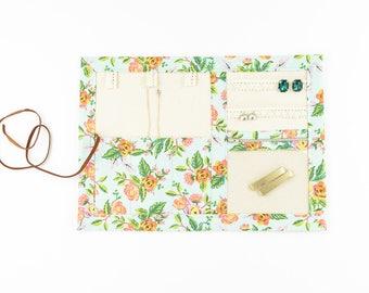 Small Jewelry Case / Roll up Travel Case - Jardin de Paris in Mint - Rifle Paper Co.