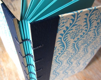 1969 Vintage Readers Digest, Blue Floral Coptic Journal Sketchbook with Turquoise pages, Ready to Ship