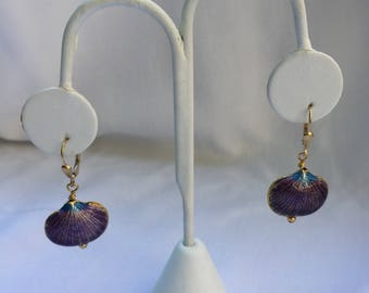 Seashell Cloissane and Gold Drop Earrings