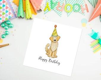 Golden Retriever Birthday Card - golden retriever - dog card, birthday card - ideal for dog lovers