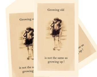 3 large tags growing old is not growing up for wine bottles perfect homemade gift for a good friend or sister download just 99p