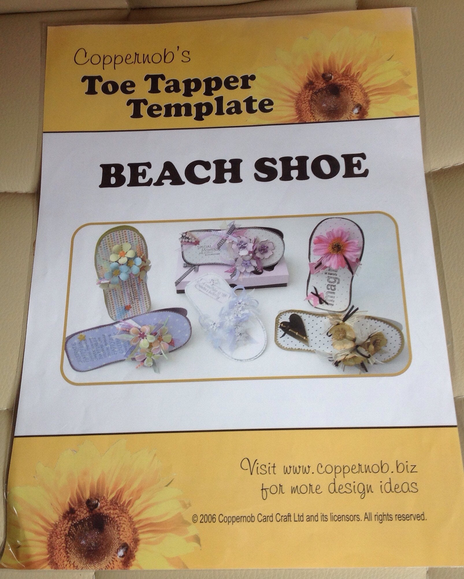 Coppernob\'s Toe Tapper Template Beach Shoe For Card Making