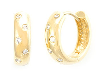 Diamond Hoop Earrings, 14K Yellow Gold Ladies Earrings, Ladies Fine Jewelry