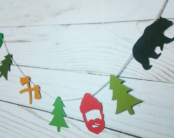 Lumberjack camping birthday party garland/Axe/Bear/tree/lantern/camping/hiking/woodland/pacific northwest/outdoors