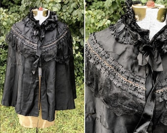 Victorian Mourning Cape // Antique Silk 1890s Capelet // Goth Steampunk Black Cloak High Collar Tie Front Cape One Size