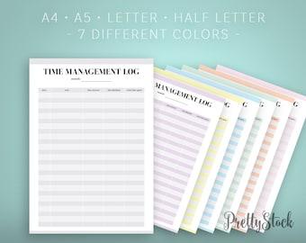 Time Management Log Printable, Time Log Planner Inserts, Time Management Tracker, A4, A5, Letter, Half letter, Binder Printable