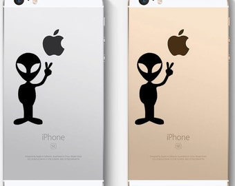 Alien decal, Peace sign decal, cell phone decal, FREE SHIPPING, laptop decal, sticker decal, vinyl decal, fantasy #107