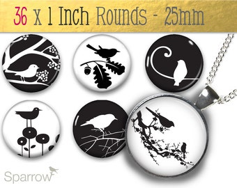 Black and White Birds - Gorgeous (1x1) One Inch or 25mm Round Pendant Images - Digital Collage - Buy 2 Get 1 Free - Instant Download