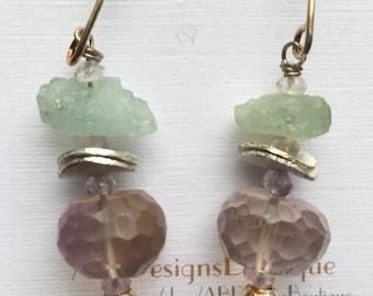 Aquamarine and Ametrine Sterling Silver Earrings