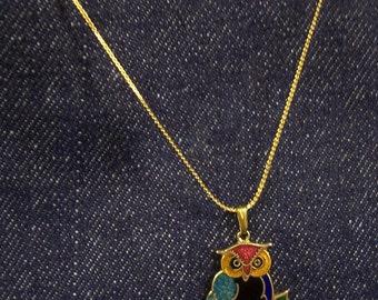 Vintage Cloisonne Owl Necklace.
