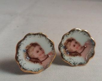 Vintage Hand Painted Limoges earrings