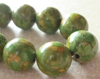 Turquoise Beads 10mm Lime Green Marbled Fire Turquoise Smooth Rounds - 8 Pieces
