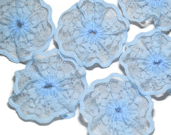 3 inch Baby Blue lace rosettes - 6 pc lace circles - Lace flowers - Lace embellishments - Scrapbook flowers - Headband supply - Lace twirls