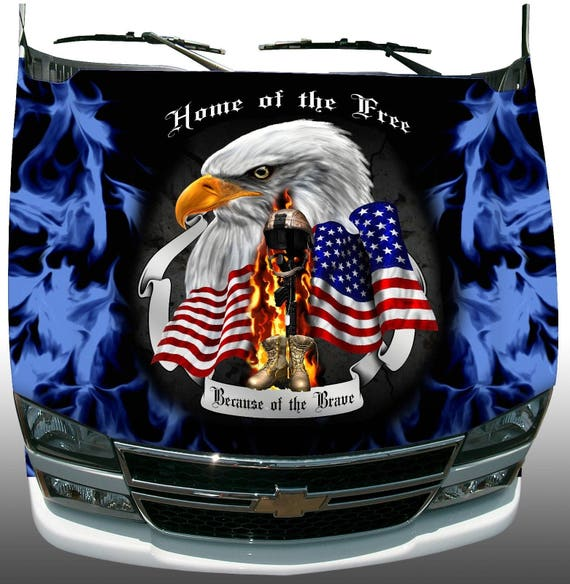 Soldier Home Free Brave Patriotic Eagle Head American Flag
