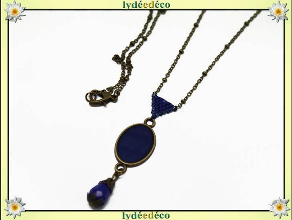 Retro necklace resin cabochon 20 x 15mm Midnight Blue brass medallion triangle beads 15 x 10mm heart clasp
