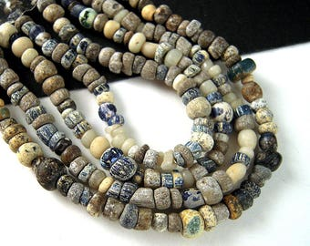 30 Tiny Ancient African Trade Beads, 2mm, 3.5mm, Antique Glass Seed Beads, Darker Ancient Glass, 600 Year Old Ancient Beads, LIMITED  EX02