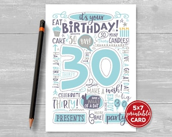 "Printable 30th Birthday Card - Doodled Thirty Birthday Card in Blue - 5""x7"" plus printable envelope template. Instant Download."