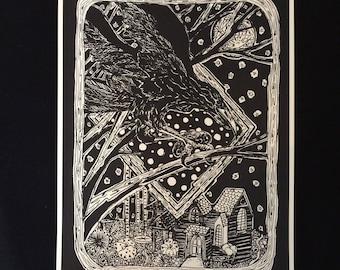 A4 Crow Print