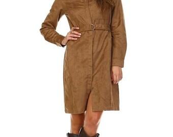 Women's Long Sleeve Suede Belted Dress