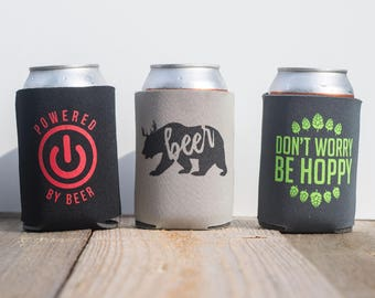 Funny witty beer can cooler trio - three pack - stocking stuffer - Don't Worry Be Hoppy - Powered by Beer - Beer Bear