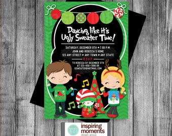 Ugly Sweater Party Invitation | Personalized | Music | Holiday Party | Rockin Holiday Party | Dancing | Invite | Celebration | 5x7 |