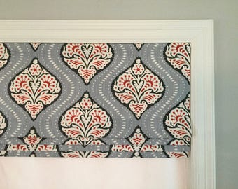 """SALE!!  Faux (fake) roman shade valance.  Lined and ready to ship.  Dwell Studio Kavali Ogee Persimmon.  38"""" Wide x 14"""" Long."""