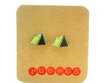 Camping Stud Earrings, Camping Jewelry, Tent Earrings, Tent Jewelry, Great Outdoors, Nature jewelry, Nature Earrings,