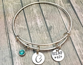 USAF wife - Air Force wife - Military Wife - Air Force - Girlfriend - USAF - USAF jewelry - Deployment gift -