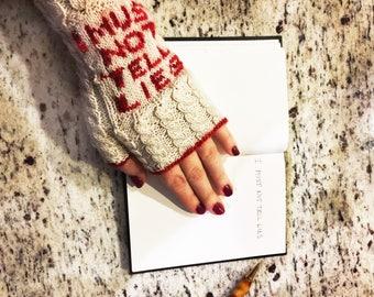 Custom Harry Potter Fingerless Mitts, I Must Not Tell Lies Mitts, Arm warmers, Wool fingerless gloves, Fantasy Themed Knitting