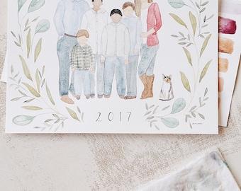 Family watercolor portrait handpainted