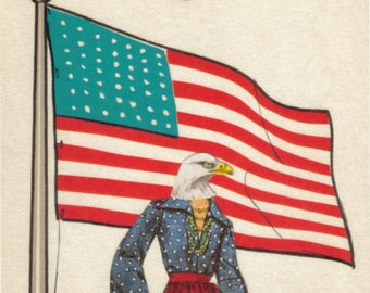 Original Collage, US Flag Wall Art, Red White and Blue, United States Artwork, Patriotic Bald Eagle